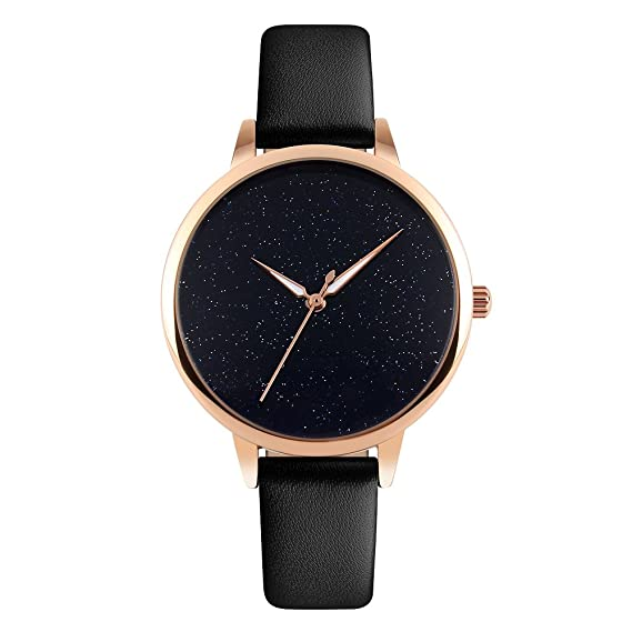 ab6718ae9 Womens Watches Leather Band Quartz Watch Women,Waterproof Rose Gold Ladies  Wrist Watches (Black