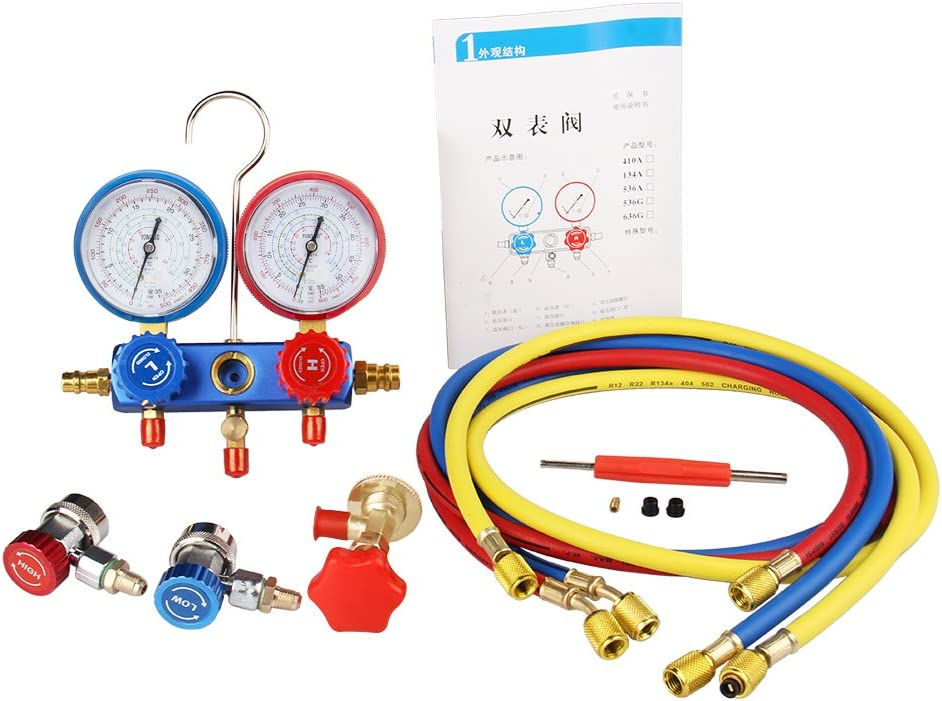 CarBole Universal Car Air Conditioning AC R134a Refrigerant Recharge Hose Pressure Gauge