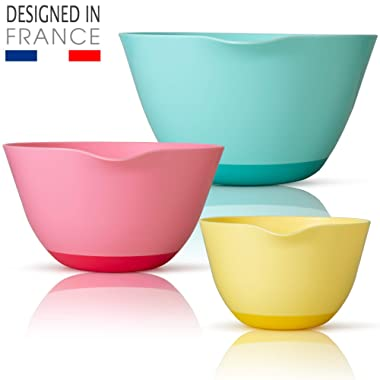 New French Design Mixing Bowl Set | BPA-Free & Food-Safe | Non-Slip Bottom, Grip Handle & Pour Spout + Complimentary Silicone Spatula | 1.5 Qt, 3 Qt, 5 Qt