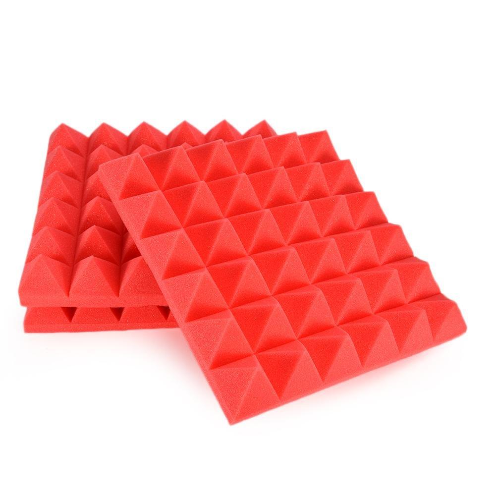 6PCS Acoustic Foam Panels, 30 * 30CM Espuma Pirámide De Combinación Acústica Panel Para Aislamiento Acústico De Sonido De Tratamiento De Amortiguadores Con Cinta De 未知品牌
