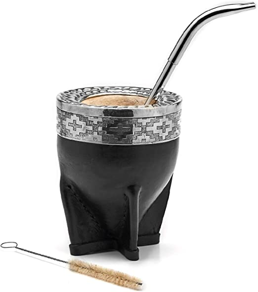 Balibetov Premium Yerba Mate Gourd (Mate Cup) - Uruguayan Mate - Leather Wrapped - Includes Stainless Steel Bombilla and Cleaning Brush. (Imperial black)