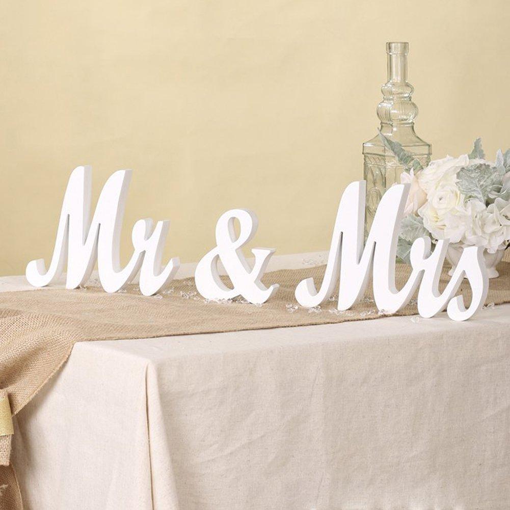 Catnew Exquisite MR MRS Letter Design Table Desktob Ornament Wedding Party Bridal Bride Decor Accessories Photo Props (White)