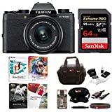 Fujifilm X-T100 Mirrorless Camera w/XC15-45mm F3.5-5.6 OIS PZ Lens (Black) w/Editing Software and Memory Card Bundle