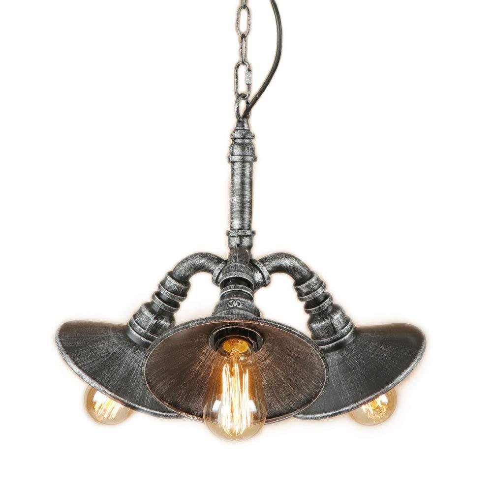 E27 Metall Wasserrohr Leuchter, Drei-Kopf-Decke Pendant Licht, Vintage Steampunk Stil Edison Glühbirne Kronleuchter Schwarz