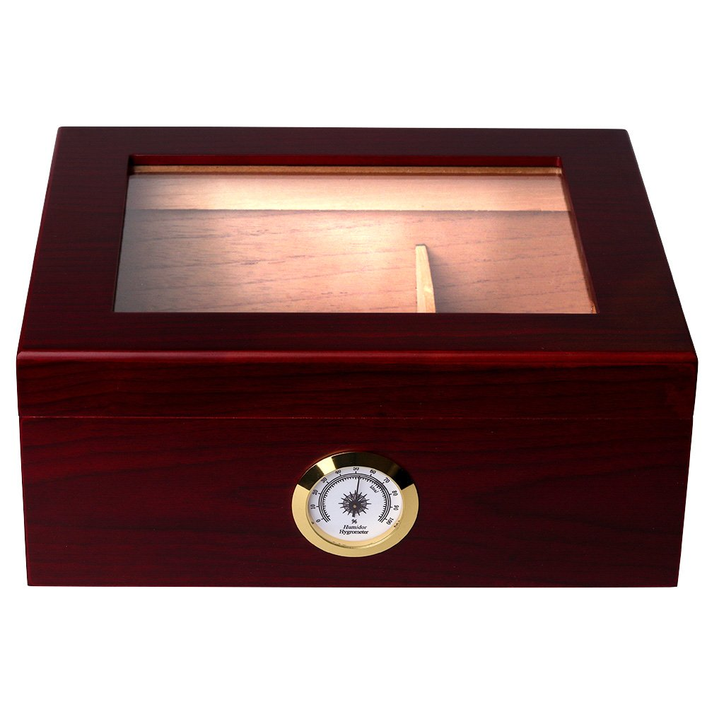 Mantello 25-50 Cigar Desktop Humidor Royale Glasstop by Mantello Cigars