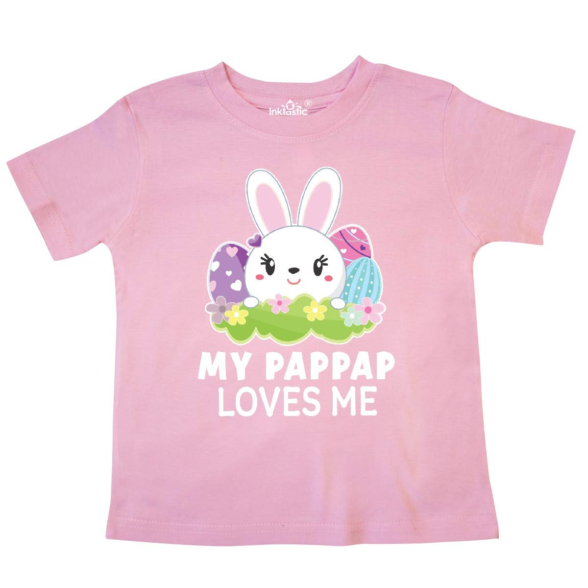 inktastic My Pappap Loves Me with Bunny and Easter Eggs Toddler T-Shirt
