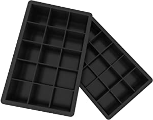 Ozera 2 Pack Silicone Ice Cube Trays Molds, 15 Cavities Ice Tray for Whiskey and Cocktail (Black - 15 Cavity)