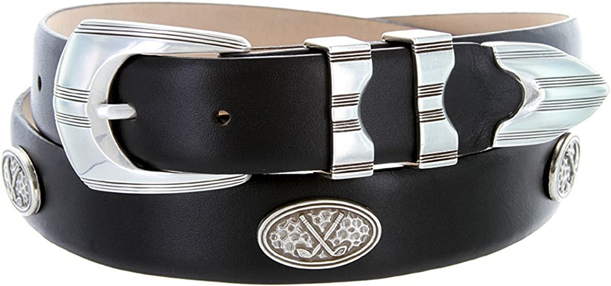 Pele Belt Men 30 mm Wide Genuine Italian Calfskin Silver Oval Concho /& Buckle