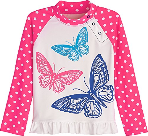 Coolibar UPF 50+ Baby Girls' Ruffle Swim Shirt - Sun Protective (12-18 Months- -
