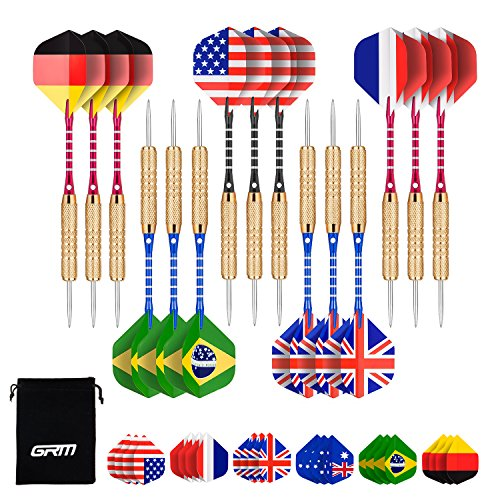 Steel Dart Shafts (GRM 15 Packs Steel Tip Darts,18 Grams Stainless Steel Needle Tip Darts with Aluminum Shafts and Brass Barrels,Included 6 Free National Flag Flights (7 Styles/21 pcs in Total))