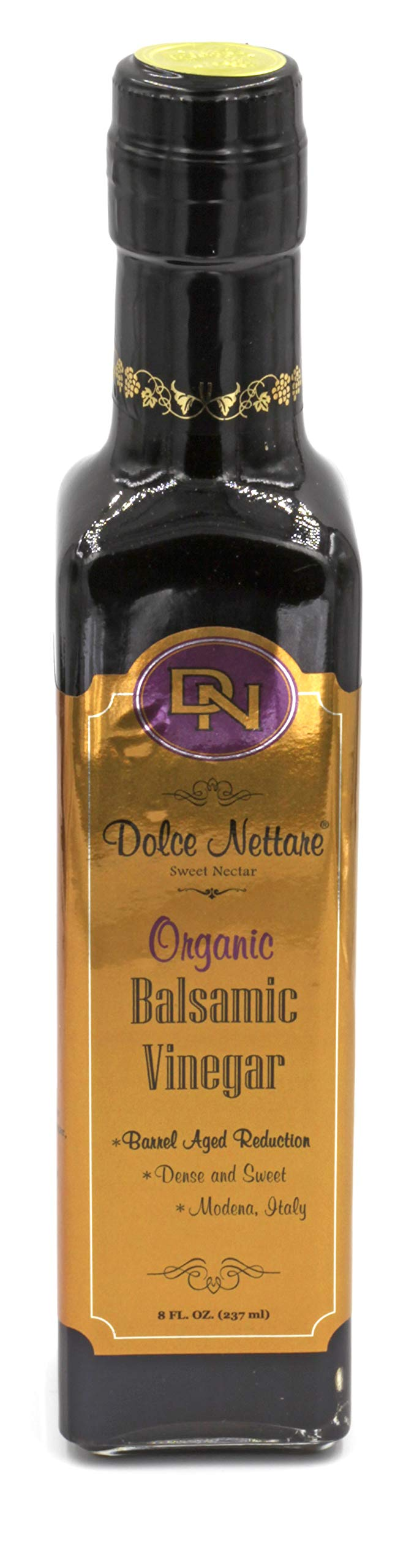 Dolce Nettare ''Thick Organic'' Balsamic Vinegar (Barrel Aged) High Density 1.33, Imported from Modena, Italy...(250 ml) Includes Free Deluxe Pour Spout by Dolce Nettare
