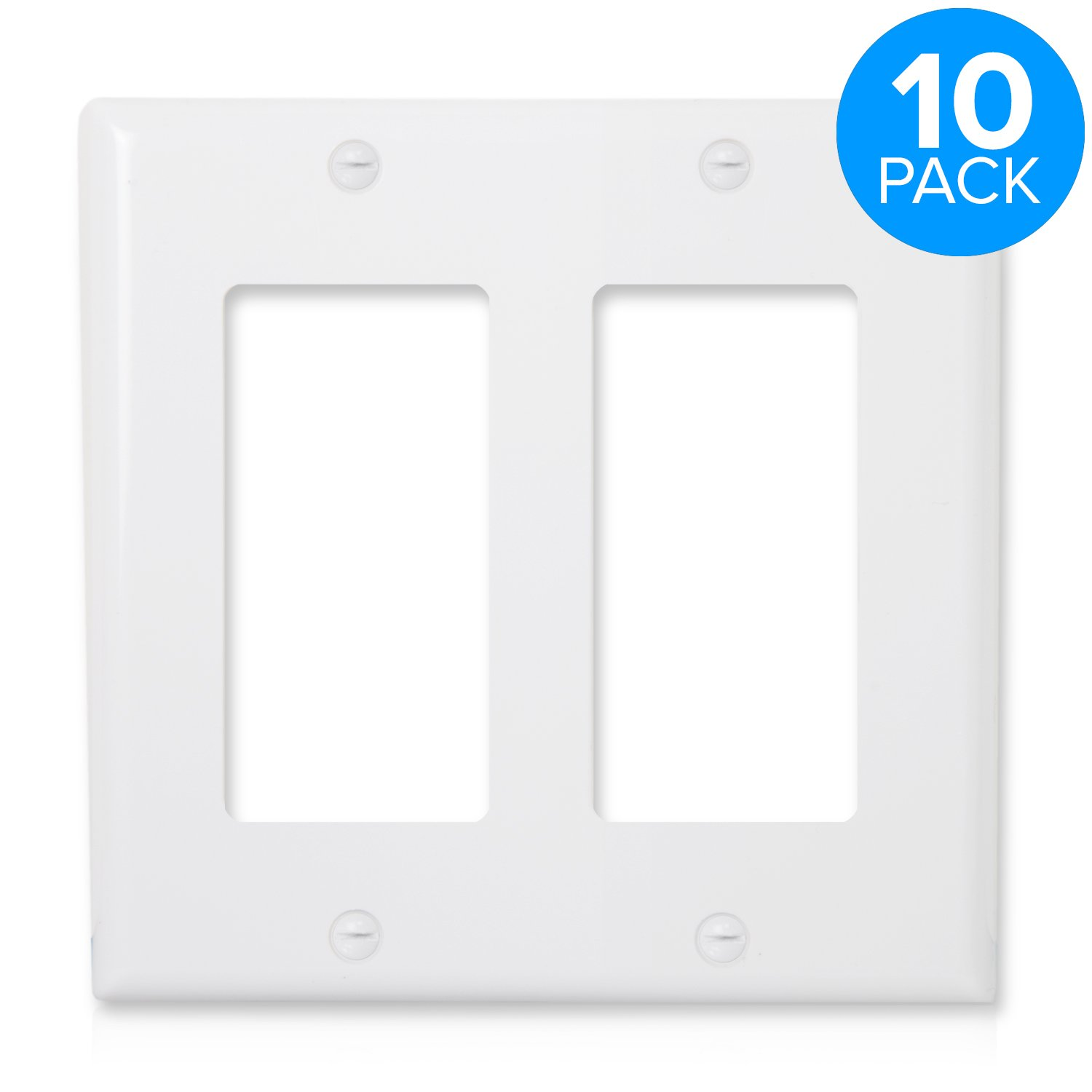 Maxxima 2 Gang Decorative Outlet Wall Plate, White, Standard Size (Pack of 10) by Maxxima
