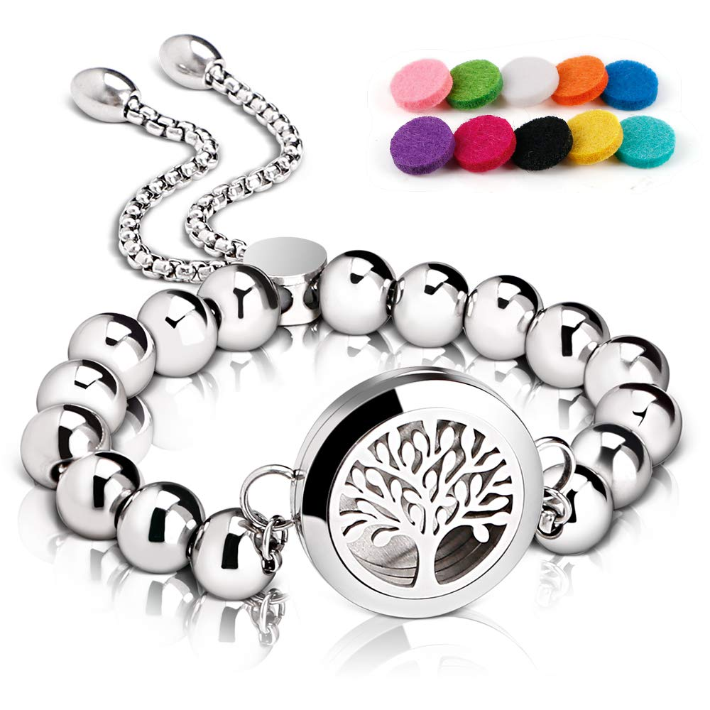RoyAroma Aromatherapy Essential Oil Diffuser Bracelet Stainless Steel Locket & Beads Wristband with 10PCS Felt Pads