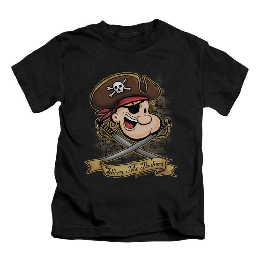 Black, 7 Popeye Shiver Me Timbers Little Boys Juvy Shirt