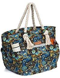 Large Canvas Beach Bag Shoulder Bags,6 pockets,44L, Weekend Holiday Perfect Bag