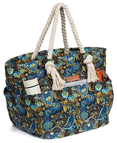Malirona Large Canvas Beach Bag Shoulder Bags,6 pockets,44L, Weekend Holiday Perfect Bag (Black (Flip Flop Purses)