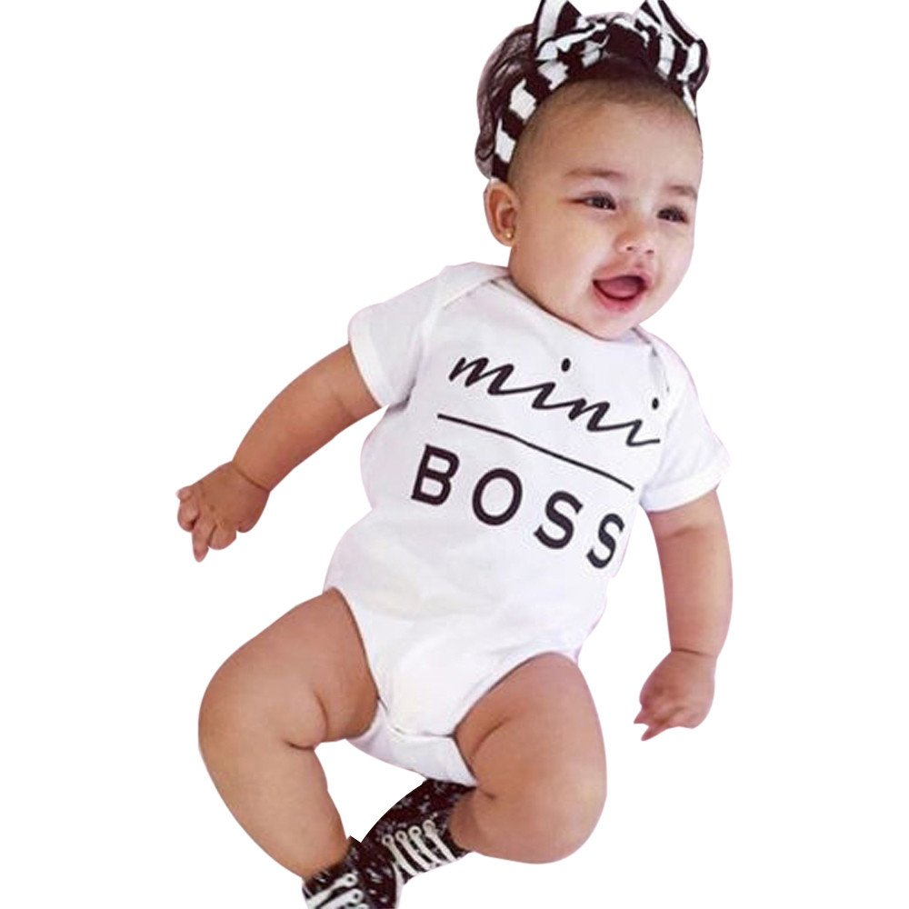 Zolimx Newborn Kids Clothes Baby Infant Boy Girl Mini Boss Letter Print Bodysuit Romper Jumpsuit Outfit Zolimx-52452