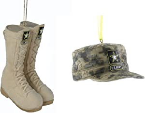 Kurt Adler U.S Army Christmas Ornaments: Boots and Hat