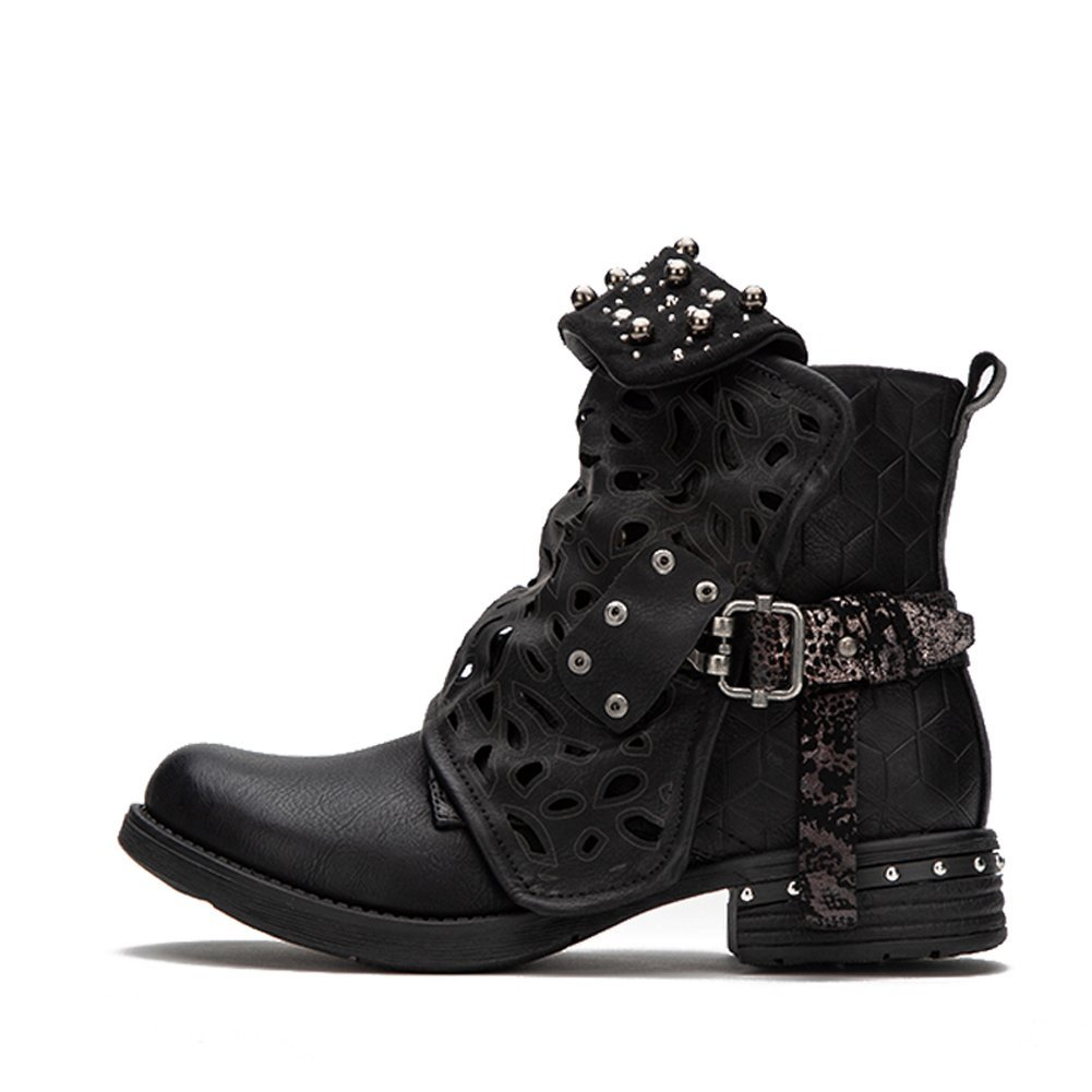los angeles undefeated x size 40 LALA IKAI Women Motorcycle Boots Combat Ankle Combat Boots with Studded Low  Block Heels Biker Shoes Black/Gray/Brown