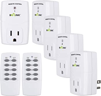 5-Pack Century Mini Wireless Outlet Switch with 2 Remote Controls