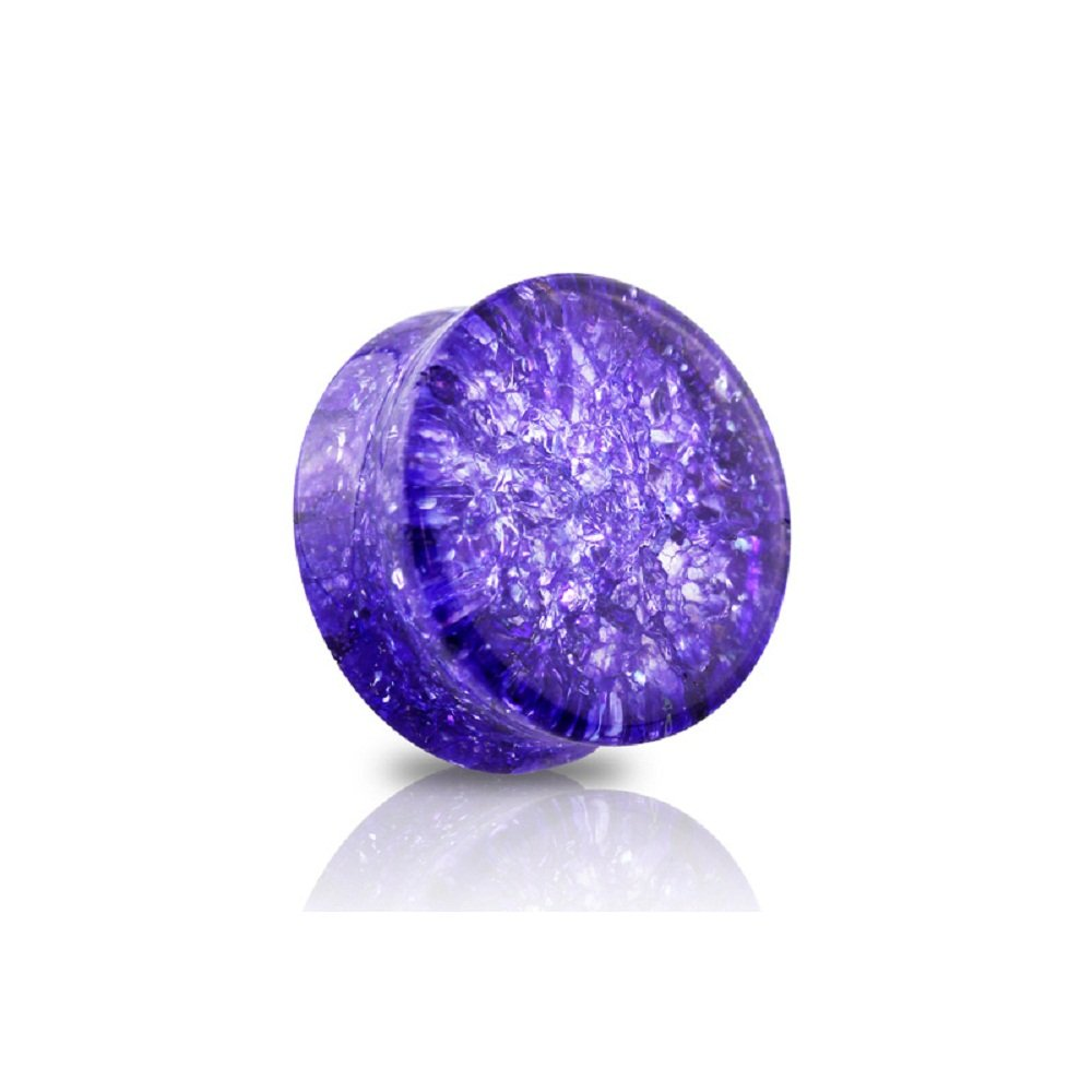 Freedom Fashion Tanzanite Tone Double Flared Shattered Glass Saddle Plug (Sold by Pair) (7/8'' (22mm))