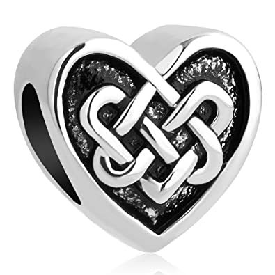 af52f3298 Image Unavailable. Image not available for. Color: Heart of Charms Love  Heart Charms Cletic Knot Charms Beads for Snake Chain Bracelets