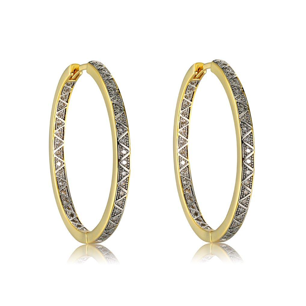 95faeffcb 18K Gold Plated Brass Cubic Zirconia Hoop Earrings Richapex product image