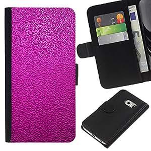 A-type (Reflective Pink Purple Wallpaper) Colorida Impresión Funda Cuero Monedero Caja Bolsa Cubierta Caja Piel Card Slots Para Samsung Galaxy S6 EDGE (NOT S6)