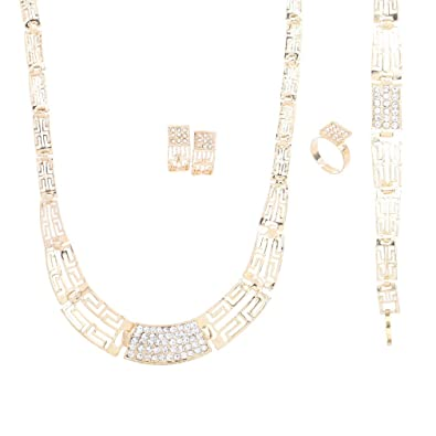 Yazilind Vogue 18K Gold Plated Rhinestone Chunky Chain Choker Collar Necklace Earrings Set for Women 7v5Uzf5Ta