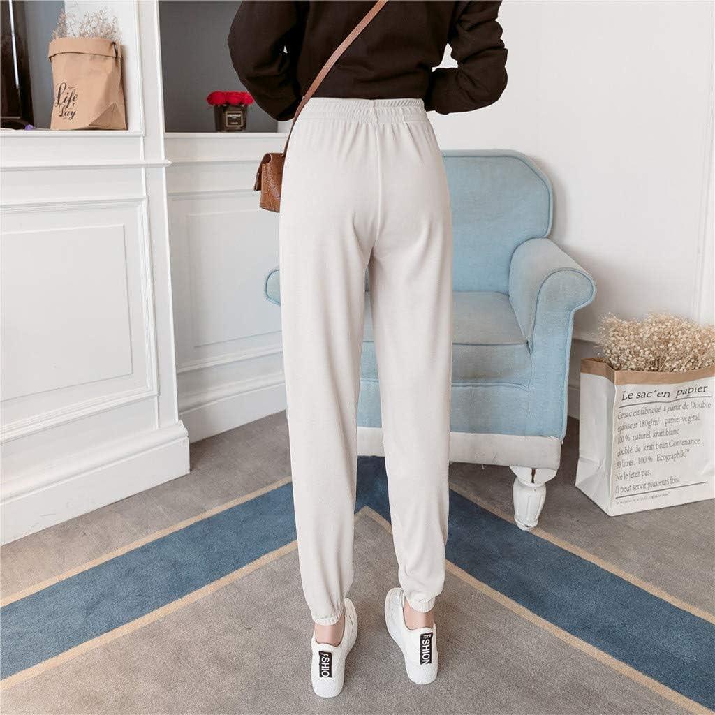 Pantalones de Jogger de Cintura con cord/ón de algod/ón Pantalones de ch/ándal Suaves y Ligeros Pantalones de ch/ándal con Bolsillo JiaMeng-ZI Pantalones Deportivos Casuales para Mujer