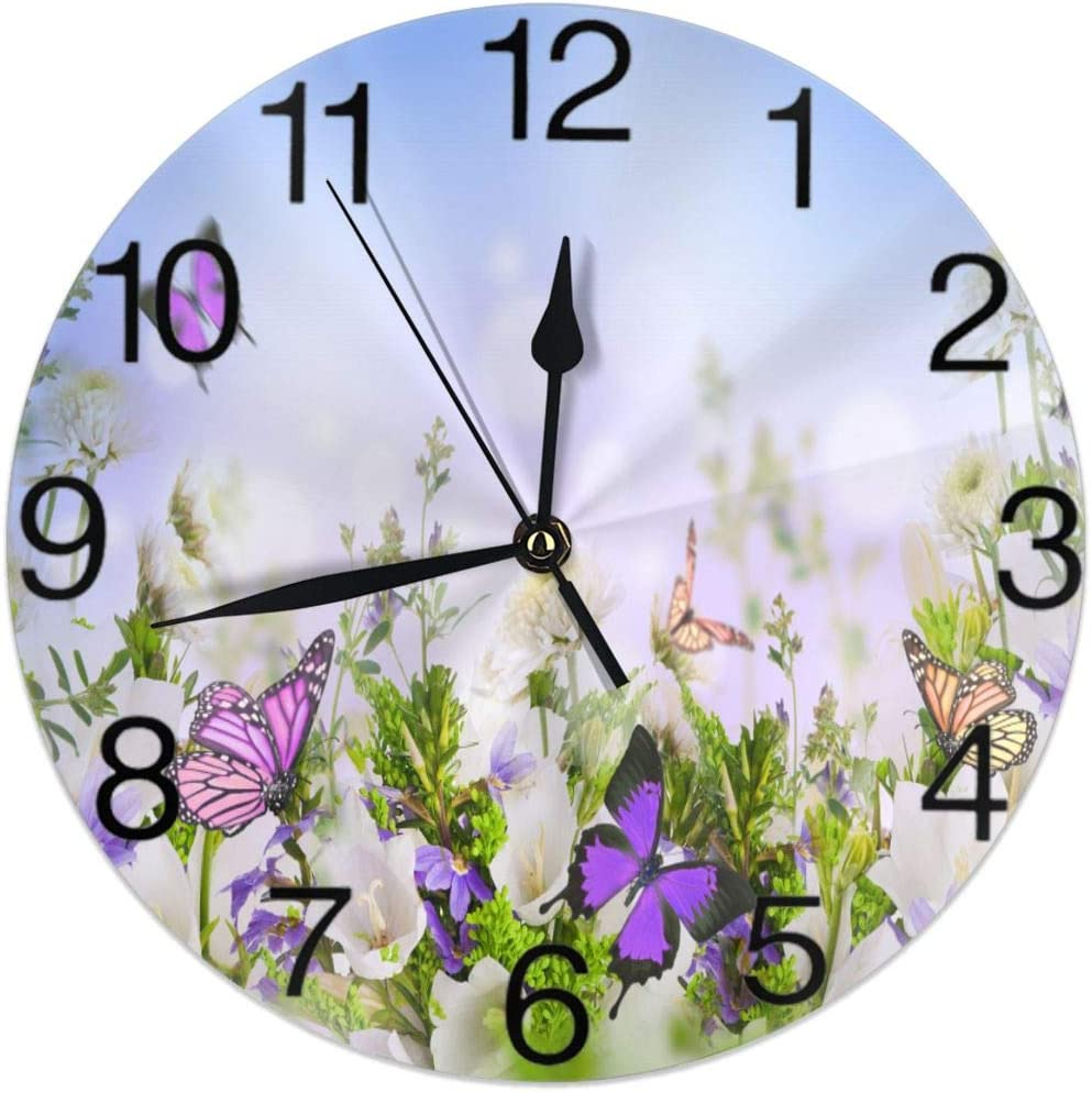 KiuLoam Butterflies Daisies Flowers in The Wild Round Wall Clock Silent Non Ticking Battery Operated Easy to Read for Student Office School Home Decorative Clock Art