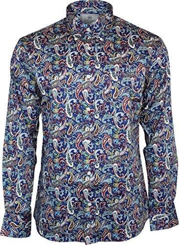 Relco Herren Hemd Marineblau Paisley Langärmlig Knopfleiste 100% Satin Baumwolle