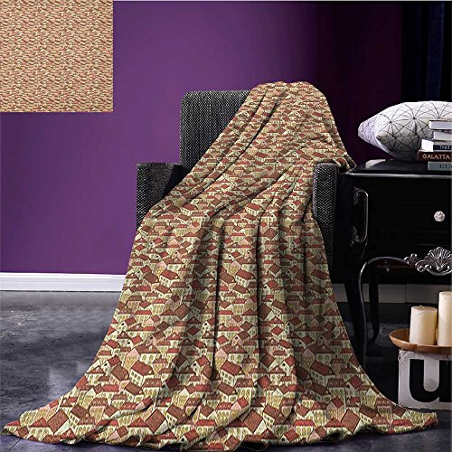 Abstract Summer Blanket Town Houses Pattern With Cool Tiled Roof Urban Architecture City Life Flannel Cream Coral Chocolate Size 59 X35 5