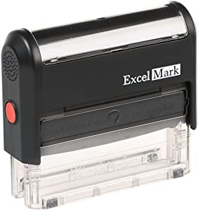 ExcelMark Custom Self Inking Rubber Stamp - Long and Narrow - 3 Lines (42A1776)