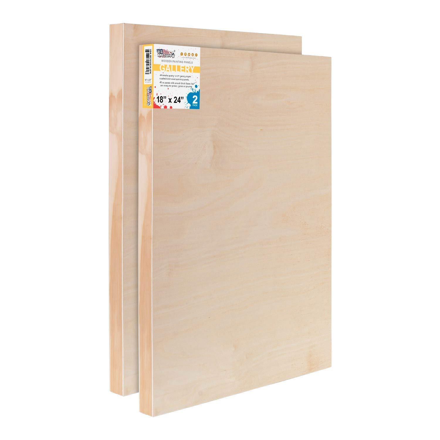 U.S. Art Supply 18'' x 24'' Birch Wood Paint Pouring Panel Boards, Gallery 1-1/2'' Deep Cradle (Pack of 2) - Artist Depth Wooden Wall Canvases - Painting Mixed-Media Craft, Acrylic, Oil, Encaustic by US Art Supply
