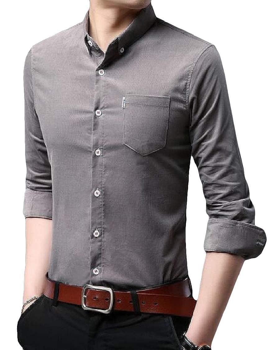Lutratocro Men Spring Cotton Button Up Slim Comfy Long-Sleeve Shirts