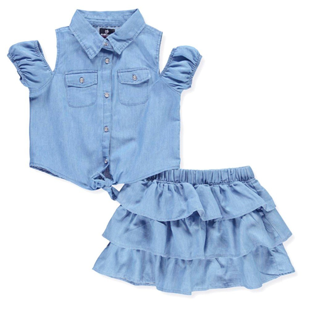 dollhouse Little Girls Blue Denim Cold Shoulder Tiered 2 Pc Skirt Set 4-6X