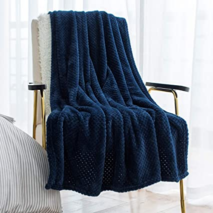 96e8cd98c00 LEWONDER Throw Blanket for Sofa Couch, Flannel Plush Soft Blanket,Light  Weight,Navy Blue, 5060in