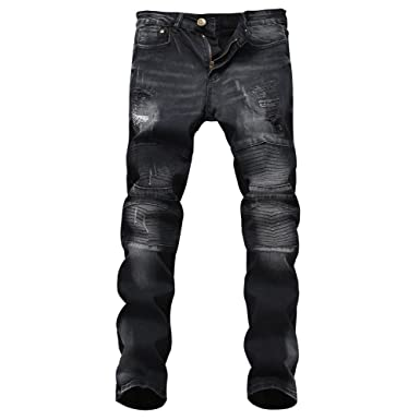 2c189c8a172 Milan Station Men's Ripped Relaxed-Fit Tapered Black Biker Jeans at ...