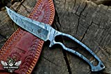TNZ-217 Damascus Knife 9.5″ Long 5″Blade 10oz Damascus steel Hunting knife Damascus Blank Blade Skinner Outdoor Knife With Leather Cover TNZ Hand Made Damascus knives