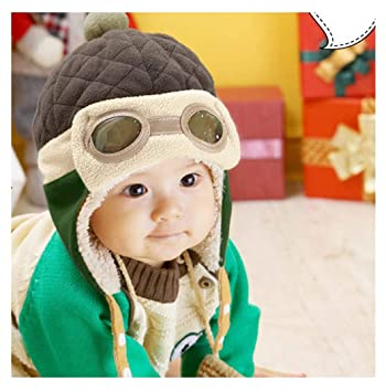 fe72b7265 Fullkang Baby Boys Earflap Hat, Winter Warm Pilot Aviator Crochet Caps  (Coffee)
