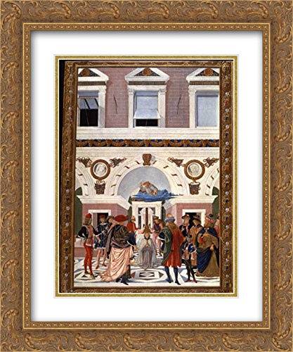 Pinturicchio 2x Matted 20x24 Gold Ornate Framed Art Print 'Painting cycle for the miracles of St. Bernard, scene Healing the blind and deaf Riccardo Micuzio dall - Galleria Dalls