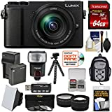 Panasonic Lumix DC-GX9 4K Wi-Fi Digital Camera & 12-60mm Lens (Black) + 64GB Card + Battery + Backpack + Tripod + Flash + Filters + Tele/Wide Lens Kit