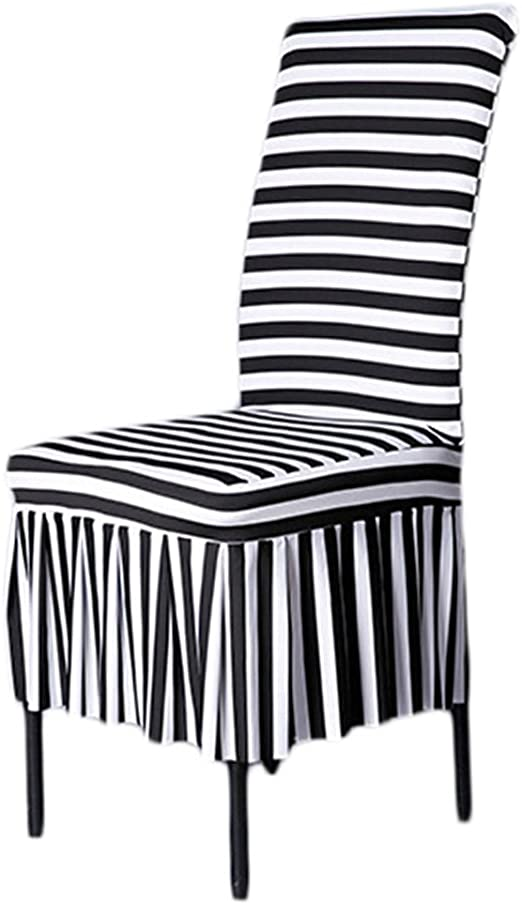 Dining Room Chair Covers, SHZONS™ Stretch Stripe Ruffled Long Skirt Dining  Chair Slipcover, Black/White(Style C)