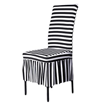 Marvelous Shzonsclassic Chair Slipcovers Stretch Ruffled Dining Chair Covers Black White Stripes Style C Pdpeps Interior Chair Design Pdpepsorg