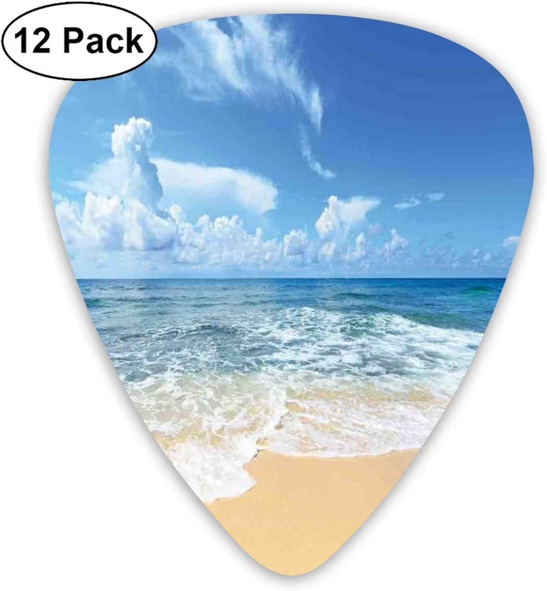 Guitar Picks 12-Pack,Waves And Paradise Beach With Sky Sun Endless Summer Sea Coast View Tropic Print: Amazon.es: Instrumentos musicales