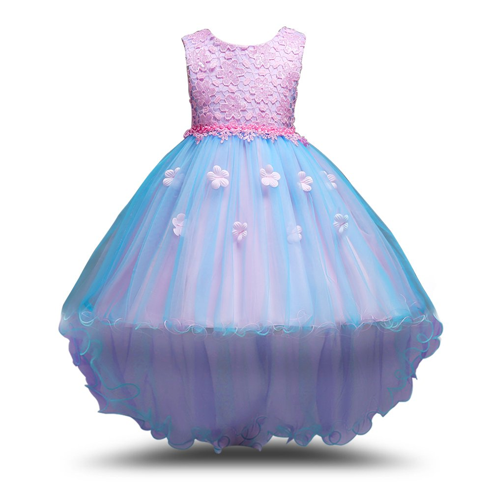 Little Girls Floral Prom Dress High Low Ball Gown Pageant Party Flower Girl Dresses MCERMR