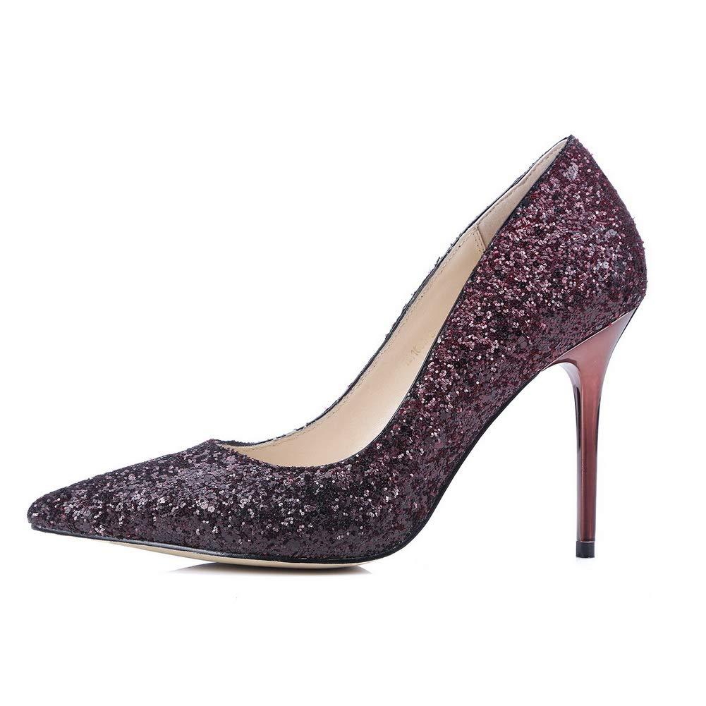 AdeeSu Womens Studded Glitter Travel Urethane Pumps Shoes SDC06110 B07HJVGRBQ US|Claret 6 B(M) US|Claret B07HJVGRBQ cf2922