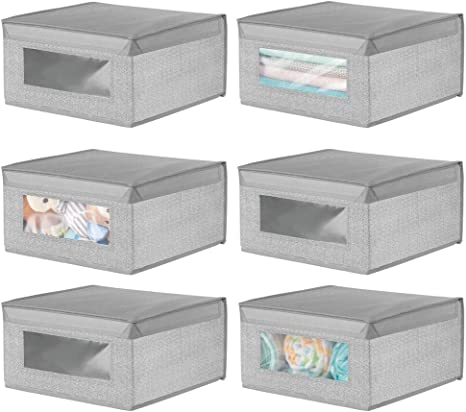 mDesign Juego de 6 Cajas organizadoras de Tela – Caja de almacenaje apilable para ordenar armarios, Ropa o Accesorios de bebé – Organizador de armarios con Tapa y ventanilla – Gris: Amazon.es: Hogar