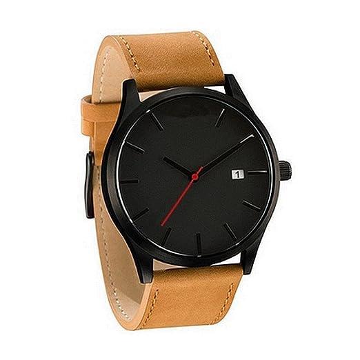 Relojes Hombre,❤LMMVP❤Pareja de moda de la banda de cuero analógico cuarzo Ronda muñeca hombres de negocios reloj (A): Amazon.es: Relojes